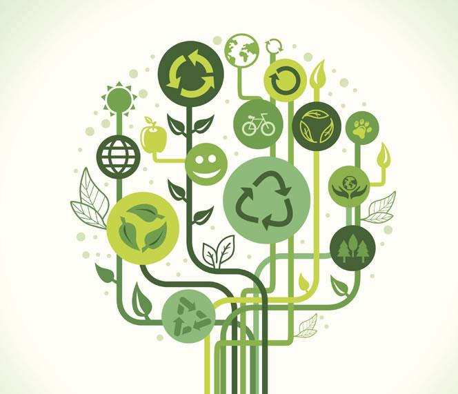 tree with environmental symbols